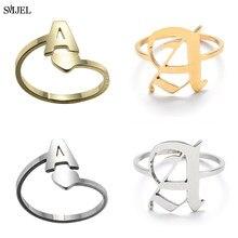 Anéis de aço inoxidável A-Z letra ajustável abertura anel iniciais nome alfabeto feminino festa moda jóias casal presentes