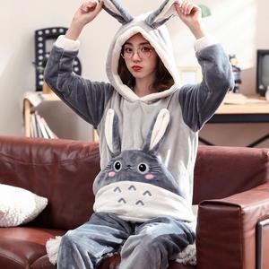 Image 4 - Artı boyutu S 4XL 6XL fanila pijama setleri kış kadın kalın o boyun büyük sevgilisi pijama kadın karikatür mercan polar lounge seti