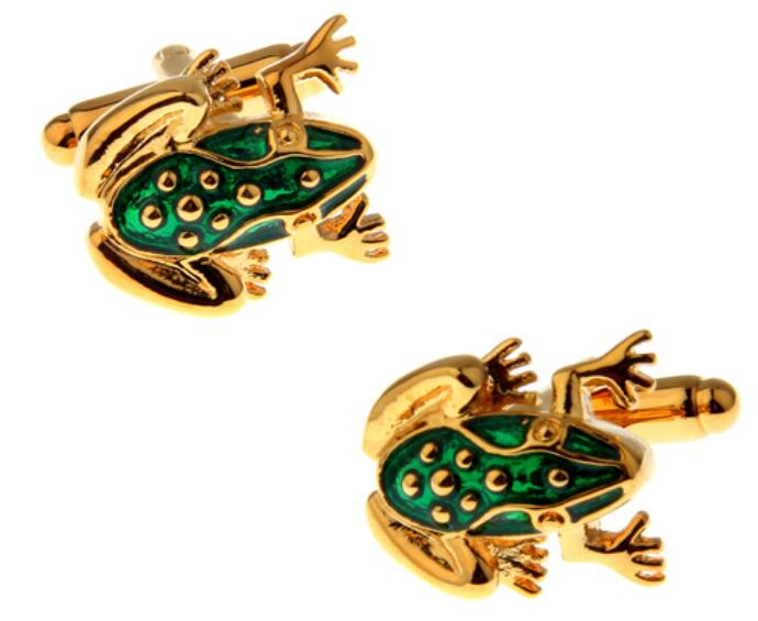 New Cute Design Frog Cufflinks For Men Quality Copper Material Green Color Cuff Links Wholesale&retail