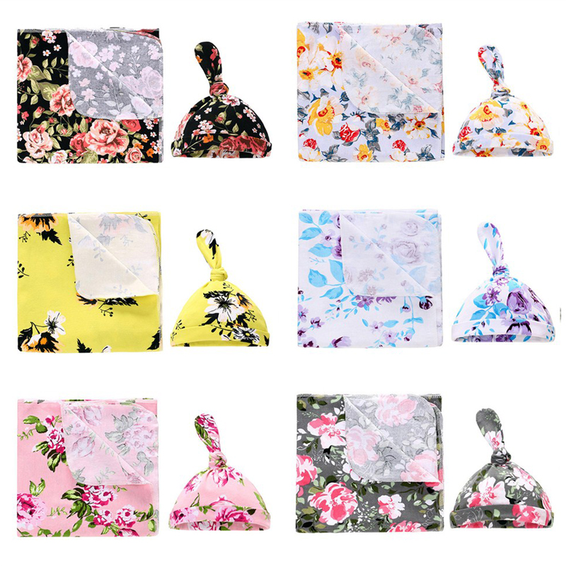 MIRACLE Baby Swaddle Set Organic Cotton Newborn Swaddle Blanket Hats (Blanket Wrap With Cap) 0-6 Months Baby Photography Props