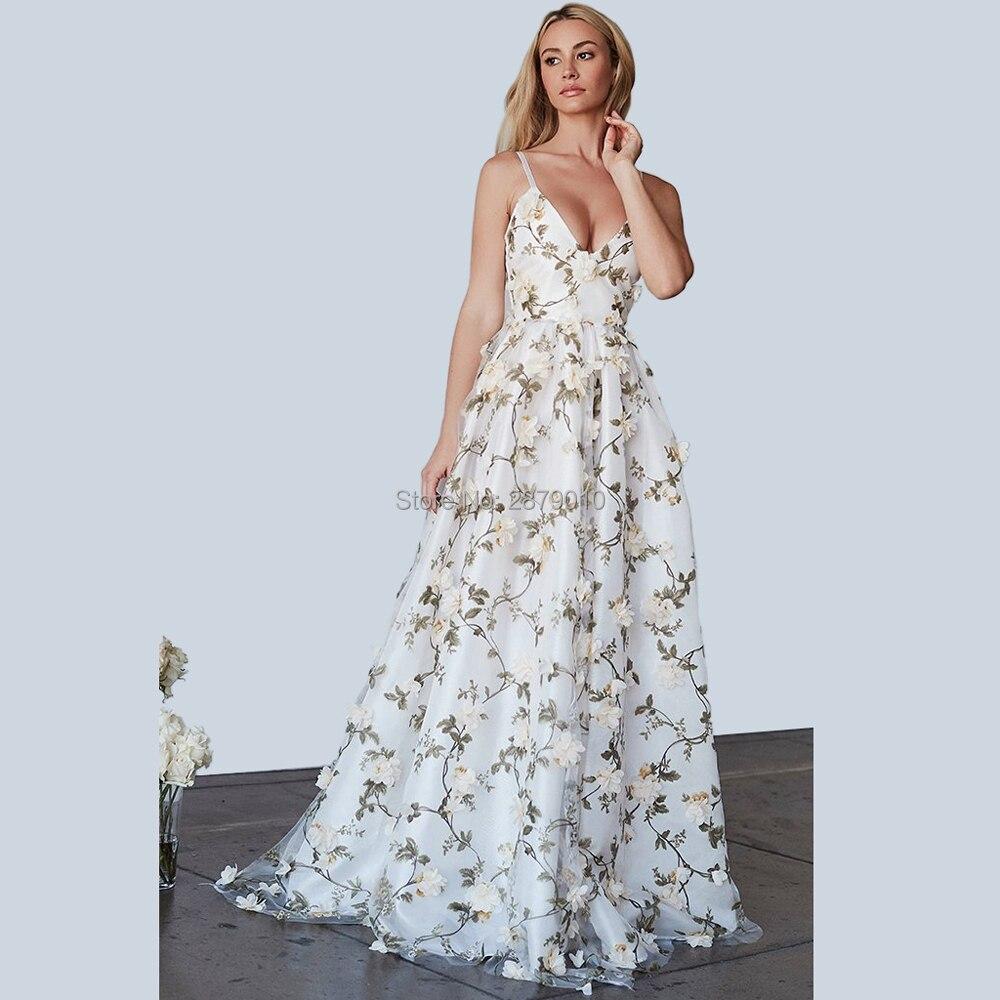 Spaghetti sangle v-cou une ligne longue robe de soirée parole-longueur femmes robe Tulle Appliques impression robe de bal formelle dubaï