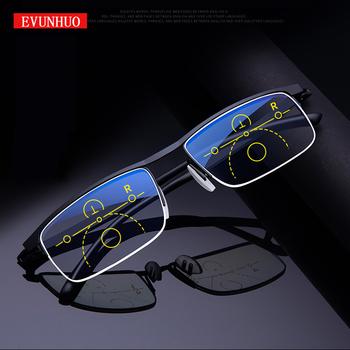 Inteligentne wieloogniskowe progresywne okulary do czytania dla mężczyzn kobiety w pobliżu i podwójnego zastosowania anty-niebieskie światło automatycznie regulowana tanie i dobre opinie EVUNHUO Unisex WHITE NONE CN (pochodzenie) Przeciwodblaskowe 0-998 3 6cm Akrylowe 5 7cm STAINLESS STEEL