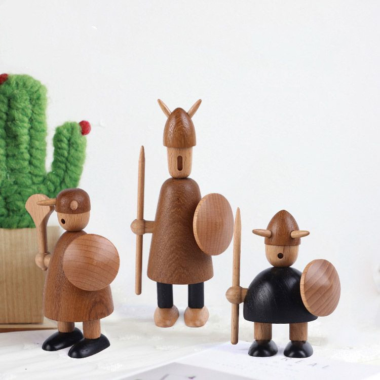 1 Pieces Creative Nordic Denmark Wood Crafts Ddisplay Viking Pirate Puppets Design Birthday Gift Home Decortaion Figurines