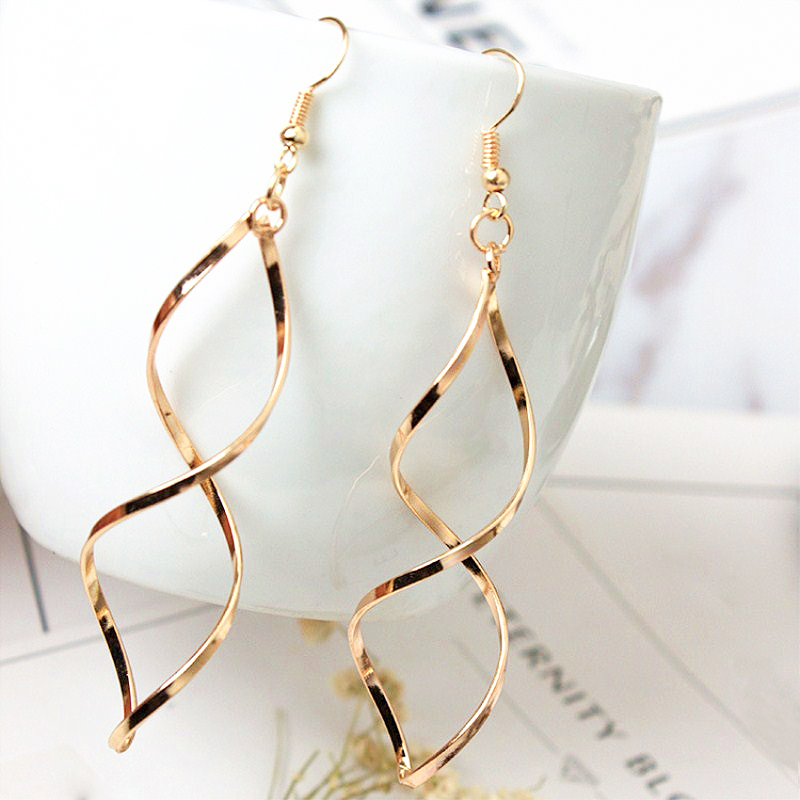 H93017af6e20147a59bc69ff2562970bct - New Simple Spiral Curved Long Drop Earrings for Women Wave Design Fashion Female Jewelry Wholesale Party Wedding Earring
