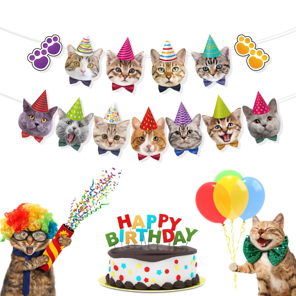 Pet Cats Theme Party Decoration Happy Birthday Party Favors Lovely Carts Wall Hanging Bunting Banner Baby Shower Party Supplies