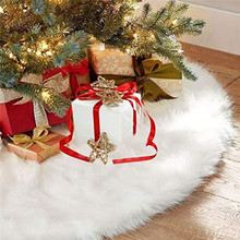 120cm White Plush Christmas Decorations Tree Skirts Fur Carpet Merry Decoration For Home Natal New Year