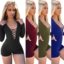 Spring new Europe and the United States womens long sleeve milk silk velvet conjoined sexy night deep jumpsuits