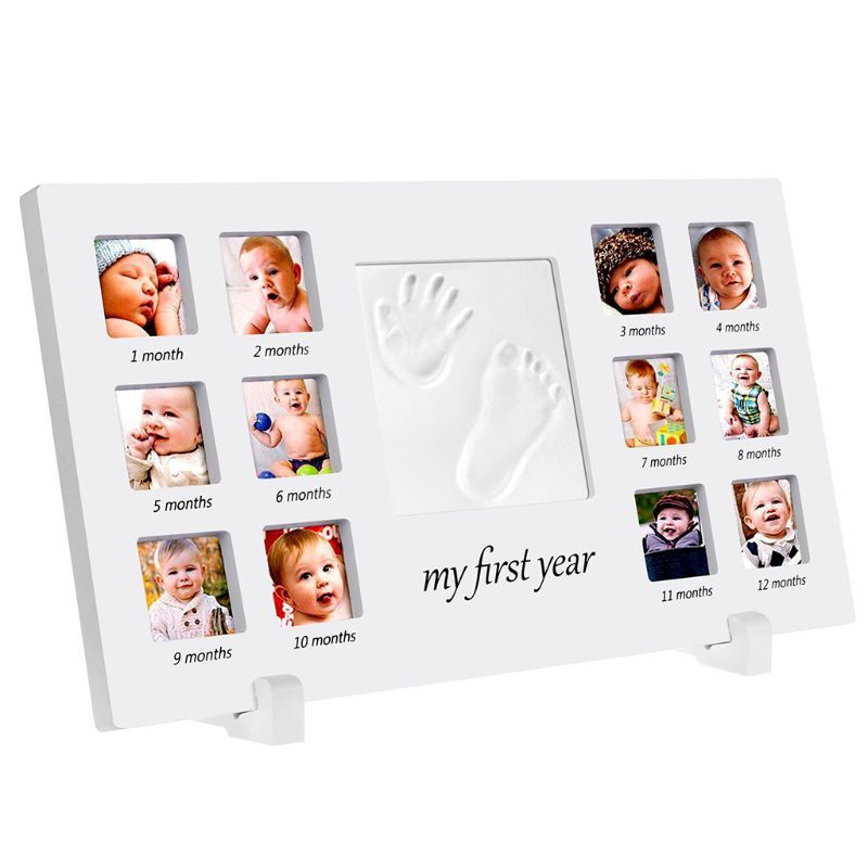 One Year Old Newborn Hand And Foot Prints Print Mud Photo Frame Baby Infants Photos DIY Gifts Commemorative Photography Table