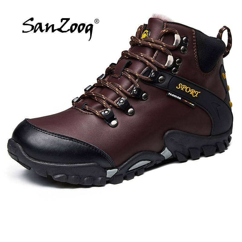 Outdoor Waterproof Men Hiking Shoes Boots Trekking Camping Climbing Scarpe Uomo Treking Sepatu Gunung Mountain Genuine Leather