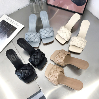 2020 Luxury Slides Women 7cm High Heels Mules Fetish Summer Sandals Low Heels Slippers Prom Platform Stripper Blue Fashion Shoes
