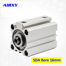 SDA pneumatic air cylinder 16mm bore SDA16 double acting piston pneumatic compact air cylinders 5-100mm stroke 1 pcs 16mm bore 25mm stroke stainless steel pneumatic air cylinder sda16 25