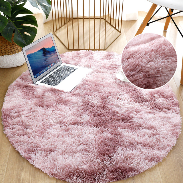 Round Thick Carpet for Living Room Plush Rug Children Bed Room Fluffy Floor Carpets Home Decor Rugs Soft Velvet Mat Anti-slip