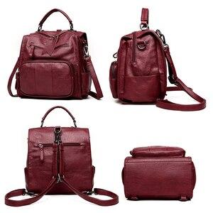 Image 3 - 2020 femmes en cuir sacs à Dos sacs décole pour adolescent filles multifonction femme Sac à bandoulière femme voyage Sac à Dos Sac A Dos
