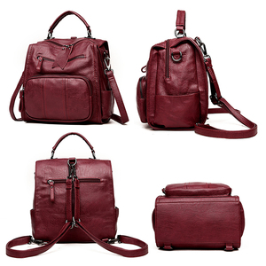 Image 3 - 2020 kobiet skórzane plecaki szkolne torby dla nastolatków dziewczyny wielofunkcyjna torba na ramię damska damski plecak podróżny Sac A Dos