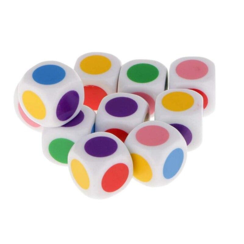10 adet 16mm renkli akrilik küp zar boncuk altı tarafı renk Dices taşınabilir masa oyunları oyuncak