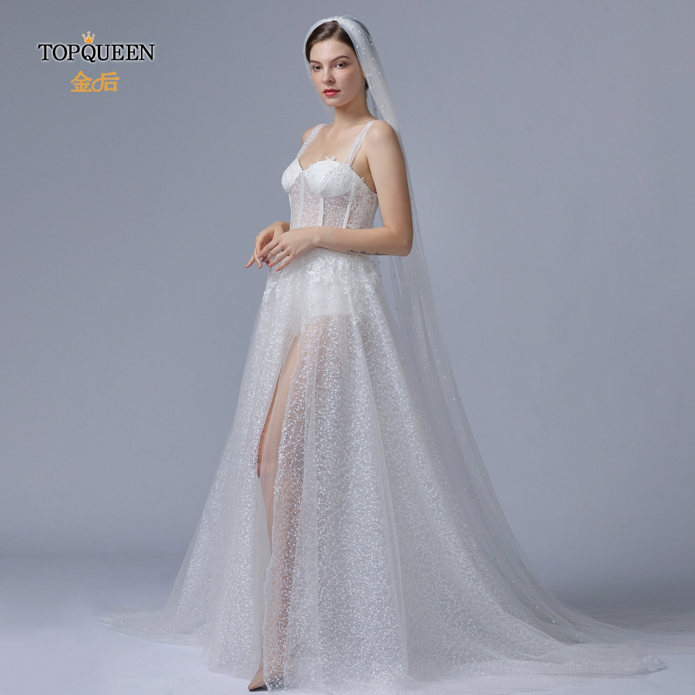 TOPQUEEN V05 Cathedral Wedding Veil with Beading Pearl White Ivory Church Veil First Communion Veil Single Layer Layered Veil
