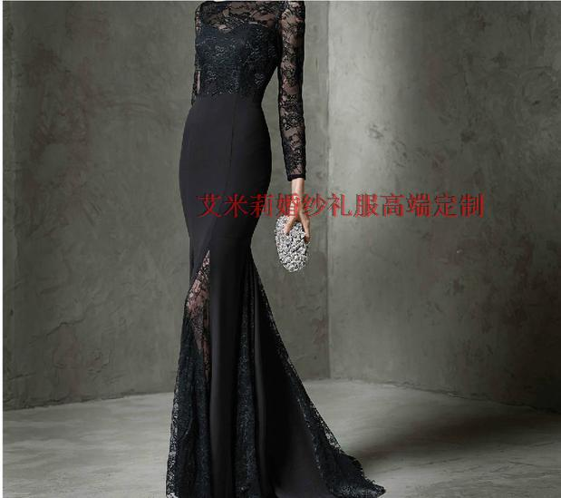 Sexy Backless 2018 Long Sleeve Black Lace Vestido De Festa Floor-length Mermaid Formal Evening Gown Mother Of The Bride Dresses