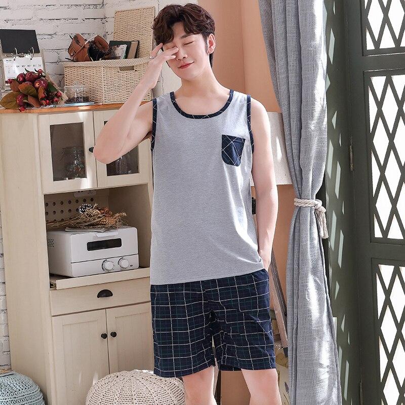 Plus Size L-4XL Vest Tops + Short Pants Pajamas Sets For Male Cotton Nightwear Cartoon Pyjamas Men Summer Sleepwear 2pcs/set