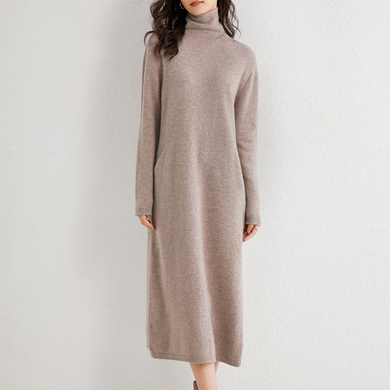 Women Dress Longer 100% Cashmere and Wool Knitted Jumpers 2020 New Fashion Winter Turtleneck Dresses Female Mid-calf Pullovers