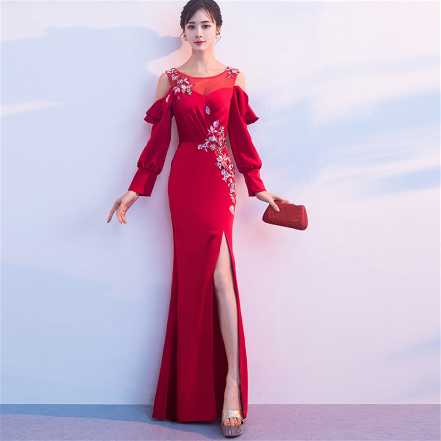 Evening   Gown Off The Shoulder Robe De Soiree 2019 O-neck Long Sleeve   Evening     Dresses   for Women Split Mermaid   Evening     Dress   F237