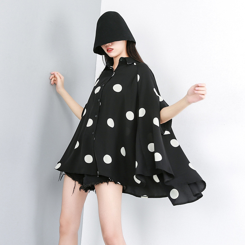 New Fashion Style Lapel Half Sleeve Black Dot Printed Shirt Blouse Fashion Nova Clothing