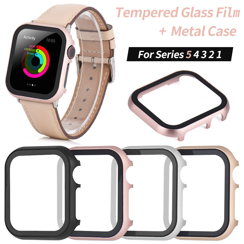 Metal Case+3D Tempered Glass Film for <font><b>Apple</b></font> <font><b>Watch</b></font> Series 5 4 <font><b>3</b></font> 2 Screen Protector Cover Bumper for iWatch 40mm 44mm 38mm <font><b>42mm</b></font> image