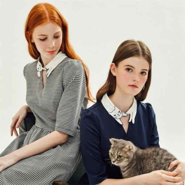 Женщины Поддельные Воротник шифон чокер Дамы Заявление ожерелья блузка-Kitty
