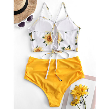 Bohemia Style Sexy Swimwear Women Summer Beach Swim Suits High Waist Bikinis Sets Female Sunflower Print Bikini Swimsuits Hawaii 1