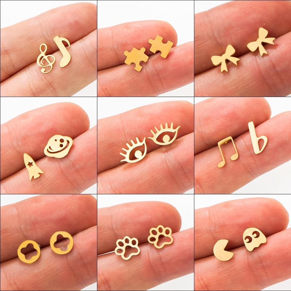 Многоцветные золотые серьги-гвоздики из нержавеющей стали для женщин и девочек 2018 модные минималистичные серьги гвоздики ювелирные изделия подарки
