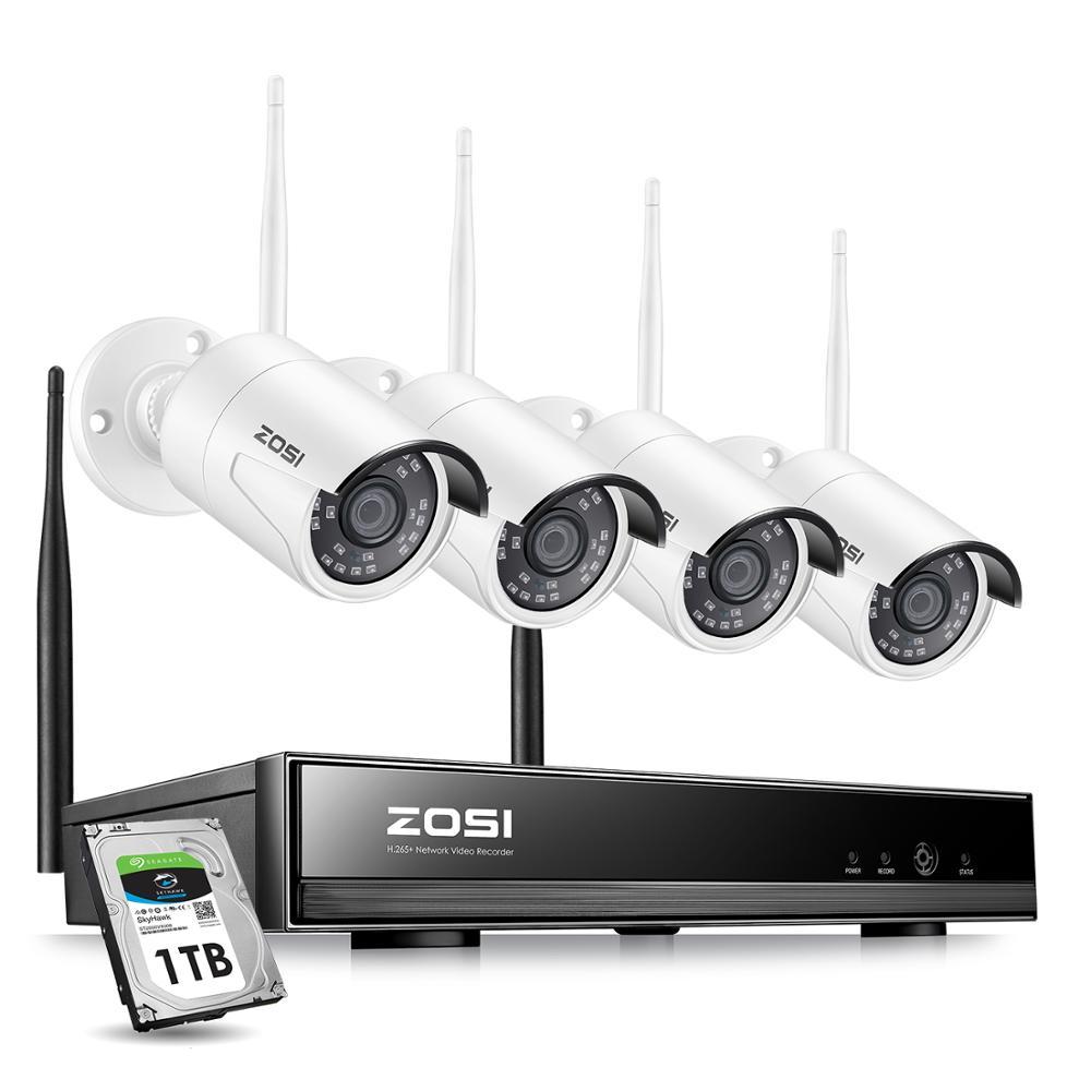 ZOSI 8CH Wireless CCTV System H.265+ 1080P NVR 2CH/4CH 2MP IR-CUT Outdoor CCTV Camera IP Security System Video Surveillance Kit