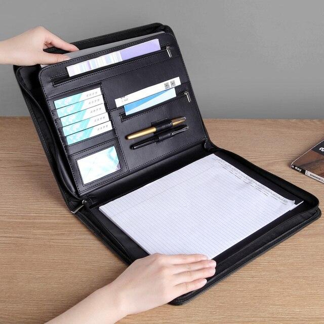A4 비즈니스 관리자 파일 빌 문서 폴더 주최자 지퍼 서류 가방 외부 가방으로 회의 계약을위한 padfolio