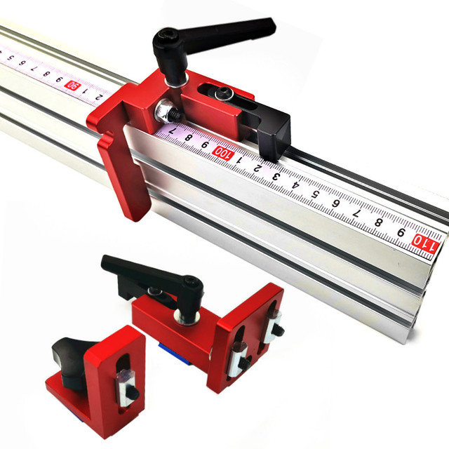 600mm/800mm Aluminium Profil Zaun 75mm Höhe mit T tracks und Schiebe Klammern Gehrung Gauge zaun Stecker für Holzbearbeitung