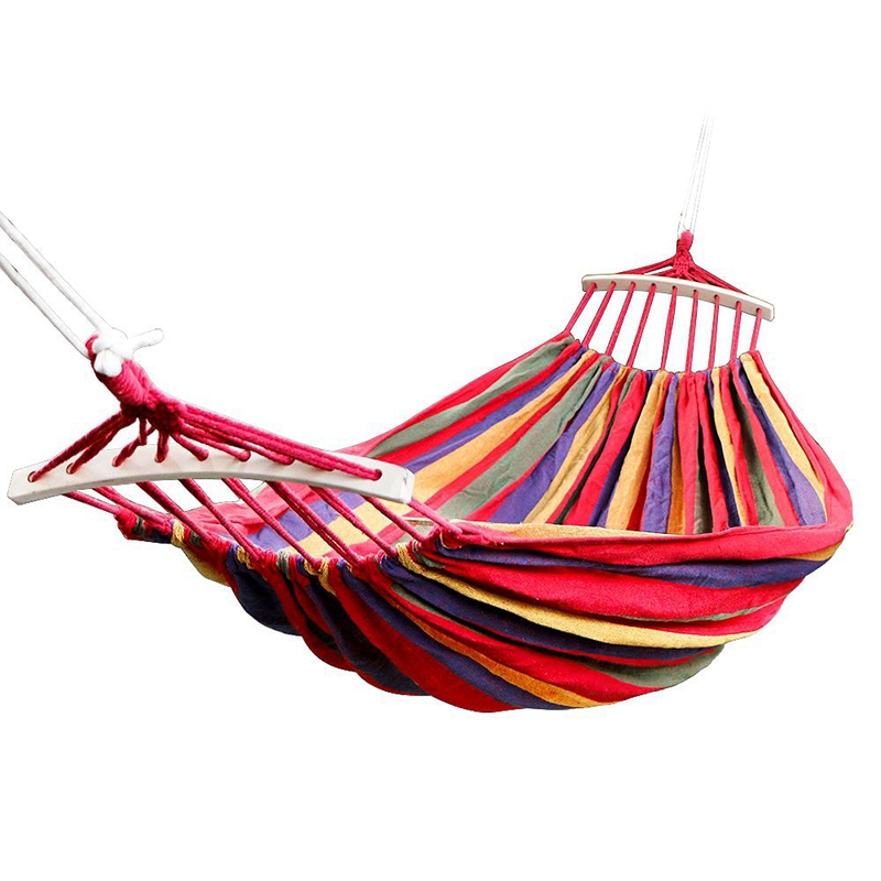 New-Double Hammock 450 Lbs Portable Travel Camping Hanging Hammock Swing Lazy Chair Canvas Hammocks(Red)