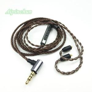 Image 1 - Aipinchun mmcx 헤드폰 케이블 마이크 볼륨 컨트롤러 교체 shure se215 se315 se425 se535 se846 3.5mm l 벤딩 잭