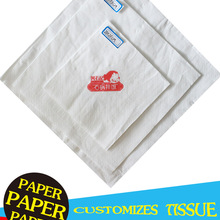 Customization of napkins, square napkins, tissues, square tissues and logo printing