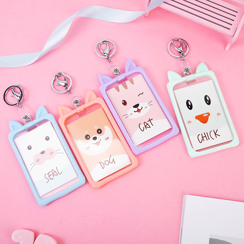 Cartoon Animals Cat Bear Cat Retractable Badge Reel Silicone Student Card Badge Holder For Bus Work Credit Card Holder Cover