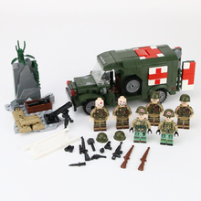 MOC WW2 US Army Wounded soldier Building Blocks Military Ambulance Bricks Weapon Bricks Parts Building Blocks Toys for children недорого