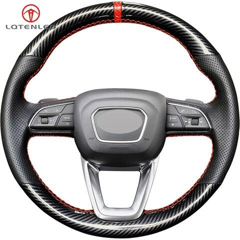 lqtenleo capa de volante do carro de couro de fibra de carbono para audi a4