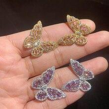 Butterfly Earrings Zircon Wedding-Jewelry Sterling-Silver Korean S925 Women New-Fashion