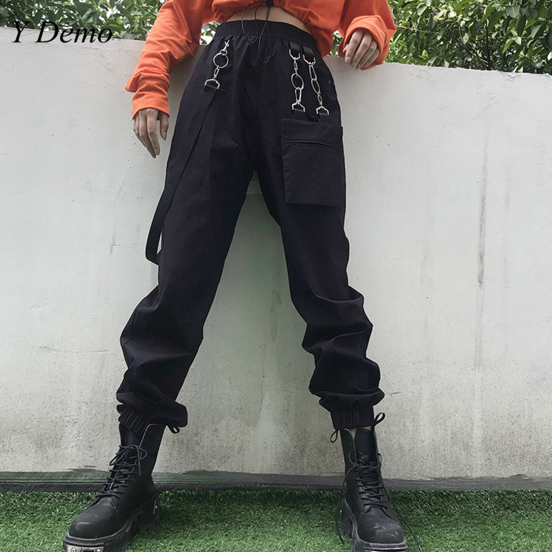 Techwear Fashion Women Pocket Buckle Belt Cargo Pants Casual Black Dancing Hiphop Rock Pants
