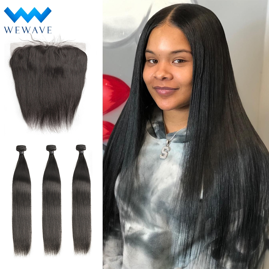 Straight Human Hair Weave Bundles With Frontal Closure Virgin Brazillian Hair Extension Pre Plucked Short Long For Black Women