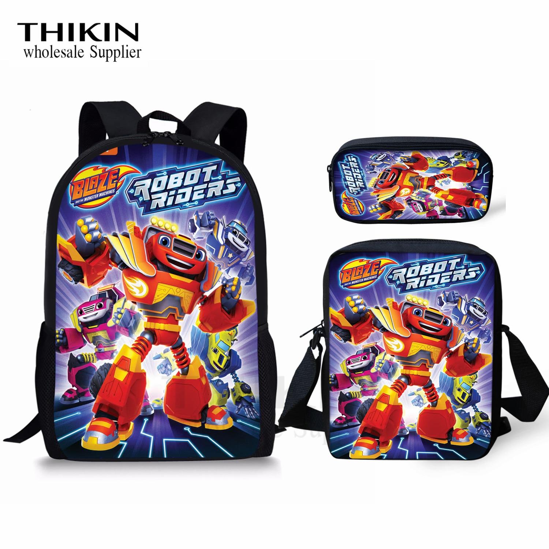 THIKIN Popular Cartoon Blaze And The Monster Print Schoolbags For Teenage Boys Custom 3 PCS/SET Children Daily Backpacks Mochila