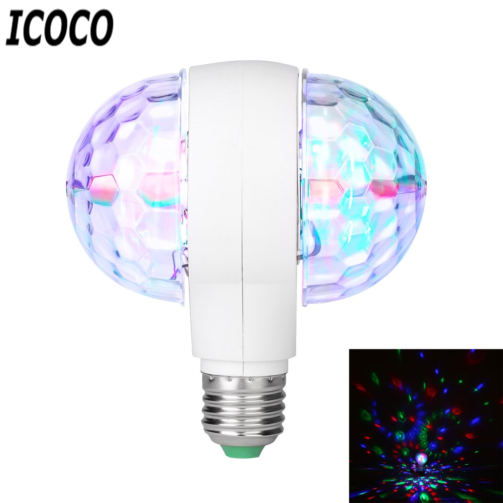 ICOCO LED 6W Rotating Bulb Light With Dual Head Magic Stage Disco Lamp Rotating Double-headed LED Colorful Stage Light Sale