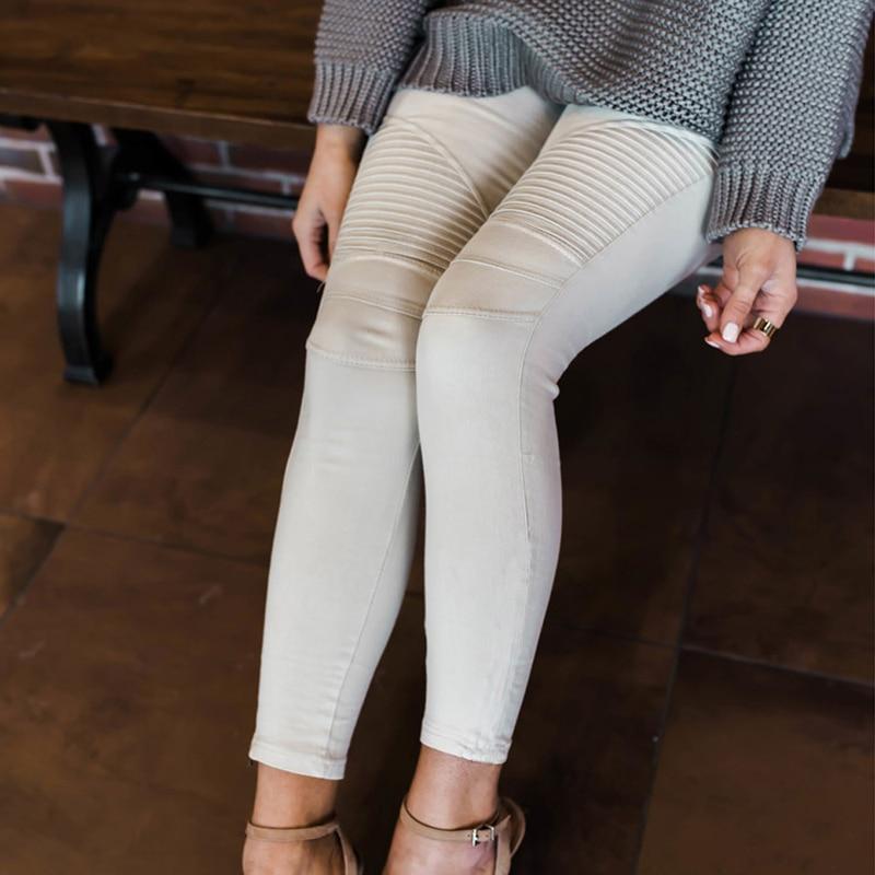 Litthing Autumn Fitness Skinny Denim Jeans Women Casual Pencil Pants Pleated Stretch Elastic Waist Jean Bodycon Trouser XS-XXL