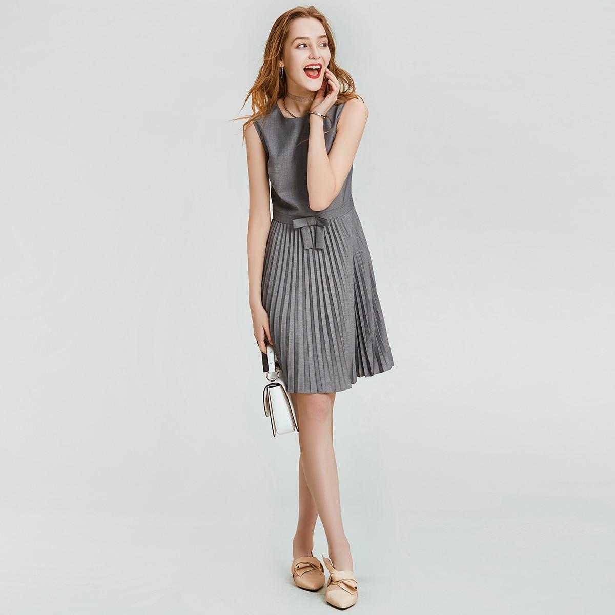 HAVVA Early Spring Women Pure Gray Sleeveless Dress Cool Style Slim Organ Pleated A line Summer Dress Q3338 - 5