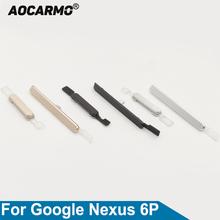 Aocarmo na On Off przełącznik przycisk głośności klawisze boczne dla Huawei dla Google Nexus 6P H1511 H1512 tanie tanio For Google Nexus 6P Metal Original
