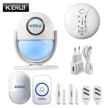 Kerui wp7 wifi sistema de alarme de segurança em casa apoio detecção de movimento app controle remoto 110db som buglar alarme sensores de movimento