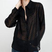 ZXQJ-Blusa de manga larga con encaje Vertical para verano, camisa elegante con costuras tonales translúcidas para mujer, 2021