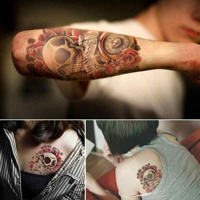 Donne Degli Uomini Sexy 3D Braccio Adesivi Manica Spalla Del Corpo Tatuaggi Impermeabile Punk Del Cranio Del Tatuaggio Temporaneo