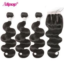 Alipop Haar Body Wave Bundels Met Sluiting Braziliaanse Haar Weefsel Bundels Met Sluiting Remy Human Hair Bundels Met Kant Sluiting